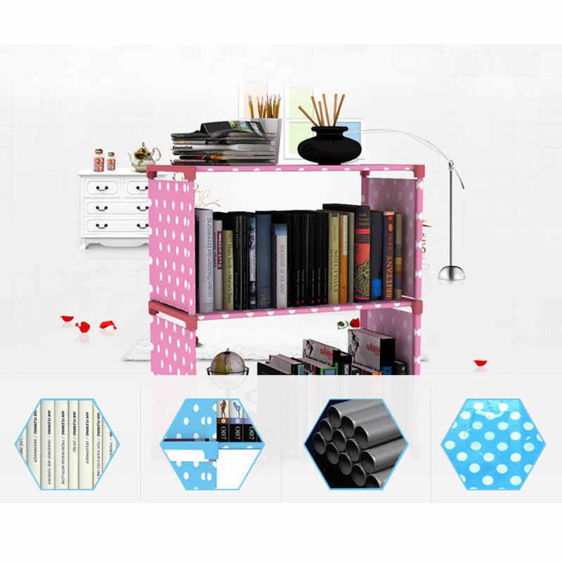 Минималистский книжный шкаф современный творческий украшения дома сборки 2 сетки нержавеющей стальная книжная полка гостиная мебель для хранения