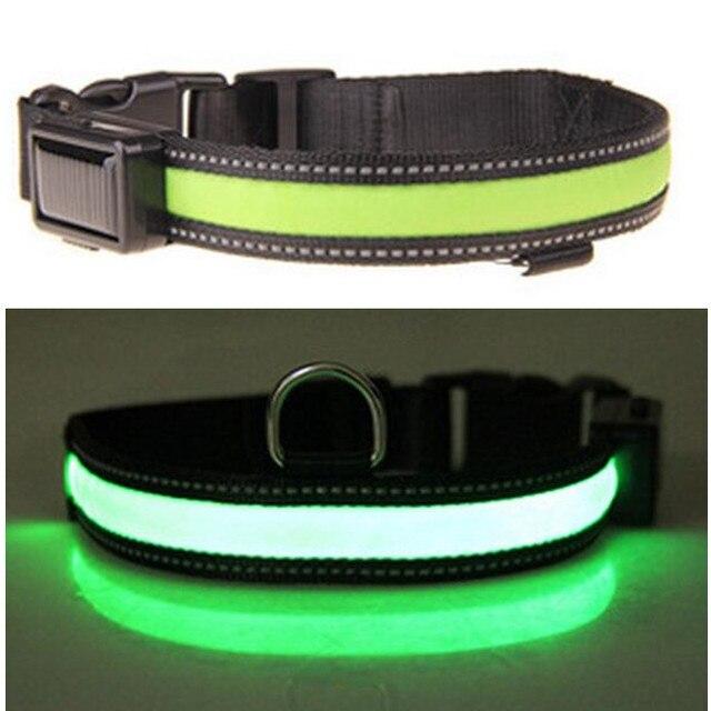 Solar USB Rechargeable LED Dog Collar Night Safety Glow Flashing Pet Nylon Dog Cat Collar Solar Led Luminous Small Dogs Collars
