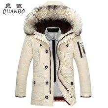 Сохранить зимнее пуховик меховой толщиной мужчина вниз воротник капюшоном теплые куртки