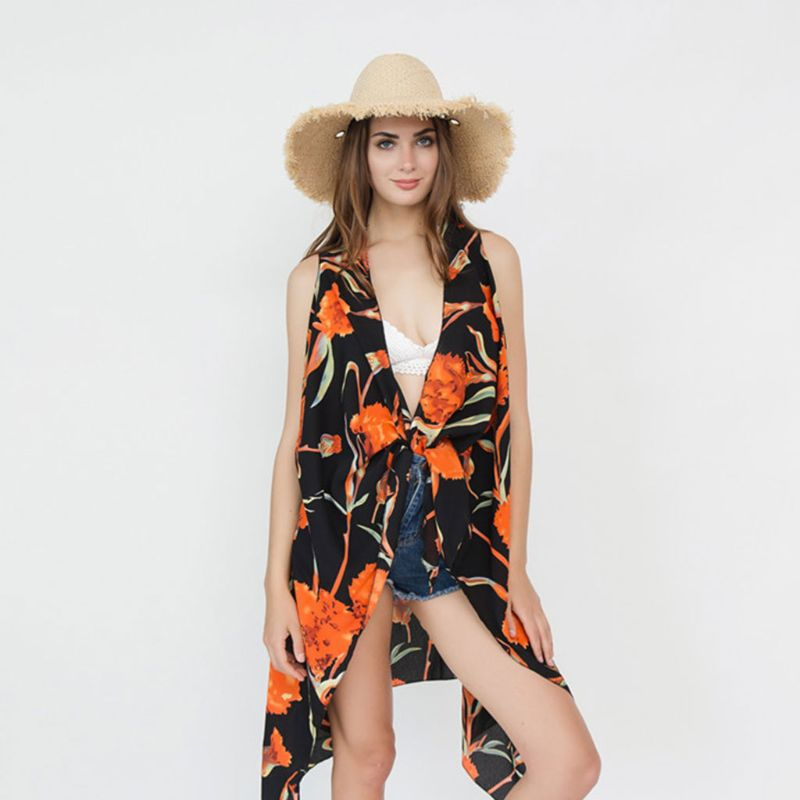 Audacious Women Summer Sleeveless Vest Style Scarf Boho Orange Floral Printed Wrap Skirt Swimsuit Cover Up Asymmetric Hem Sarong Cape Warm And Windproof