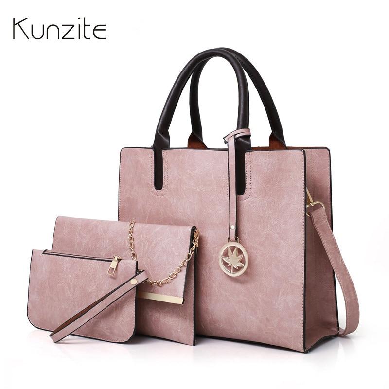 Kunzite Women Famous Brand Luxury Vintage Women Big Tote Bags 3pcs Set Bag Handbags High Quality PU Leather Chains Crossbody Bag