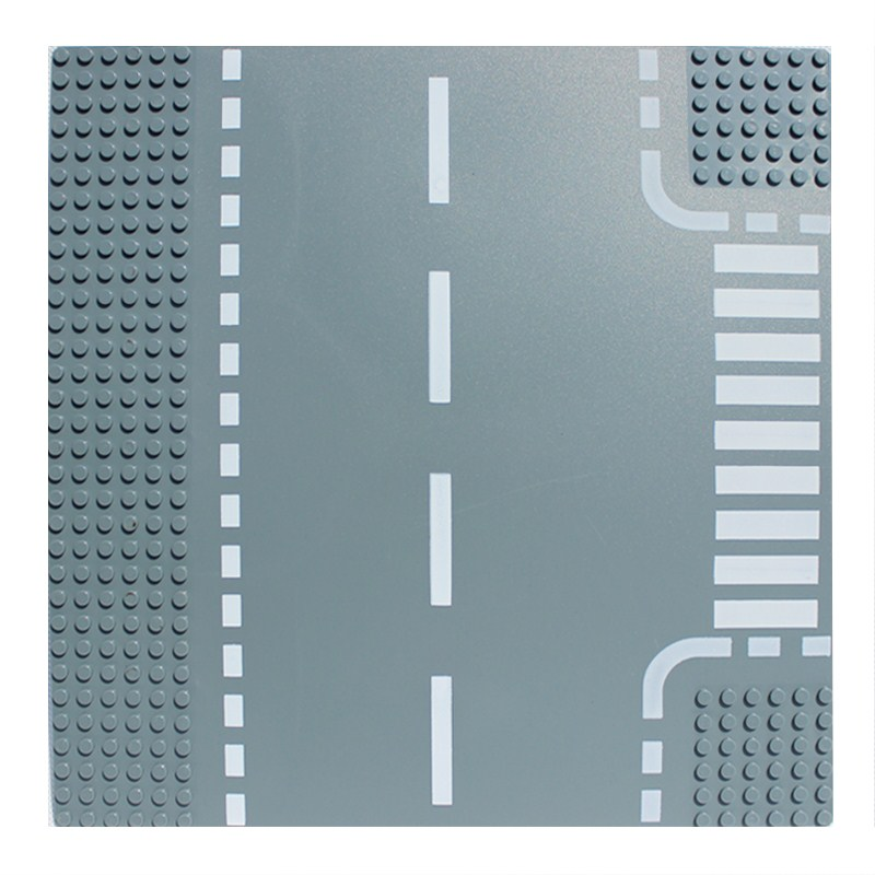 Road Plate Straight Crossing Curve T-Junction Building Blocks Parts Brick Base Plate Models City Street Base Plate Toy legoingly city road base plate straight crossroad curve t junction street baseplate building blocks bricks toys for children