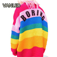 Sweet Rainbow Knitted Sweater Cardigans Autumn Winter Embroidery Words Colorful Outerwear Knitting Sweater Female Jacket
