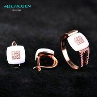 MECHOSEN White Ceramic Jewelry Sets Earrings Rings Rose Gold Copper Brincos CZ Zircon Crystal Anel Women