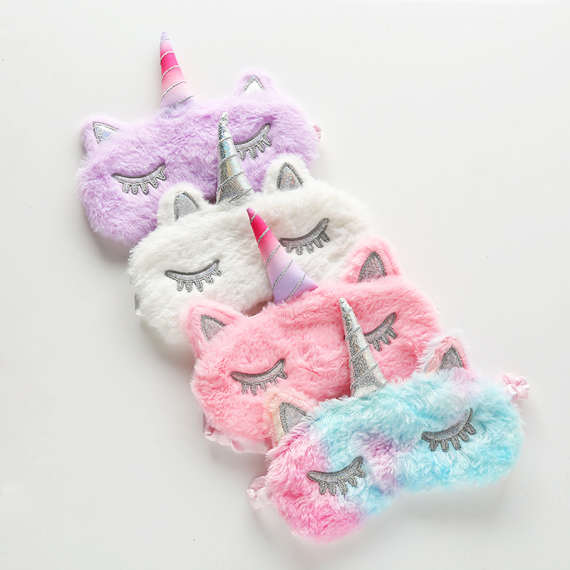 4 Style Unicorn Sleep Eye Masks Plush Eye Shade Sleeping Mask Cartoon Bandage Eyes Mask For Women Girls Sleep Eyeshade Cover