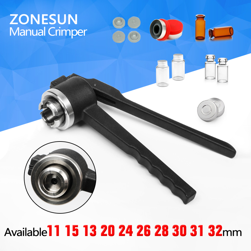 ZONESUN  28mm Stainless Steel decapper tool, manual Crimper / Capper / Vial WITH EMPTY UNSTERILE VIALS LIDS AND RUBBERS stainless steel cuticle removal shovel tool silver