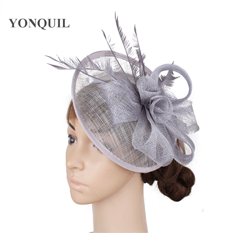 Elegent Women Fascinator Hat Feather Headband Cocktail Wedding Party Headpiece