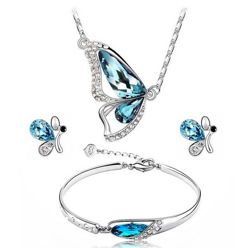 2017 Fashion Blue Color Crystal Butterfly Shape Necklace Earring Bracelet Wedding Jewelry Set