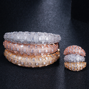 Image 3 - CWWZircons Luxury Cubic Zirconia Rose Gold Color Women Wedding Party Bangle Bracelet and Rings Sets Bridal Costume Jewelry T324
