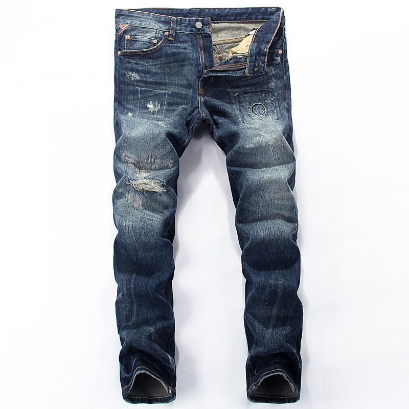 European Vintage Style Mens Jeans High Quality Fashion Streetwear Classical Jeans Men Casual Pants Cotton Brand Ripped Jeans