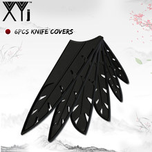 "XYj Knife Cover 6pcs Black Plastic Protector Cover For 8"" 8"" 7"" 5"" 5"" 3.5"" Stainless Steel Knife High End Cleaver Blade Covers(China)"
