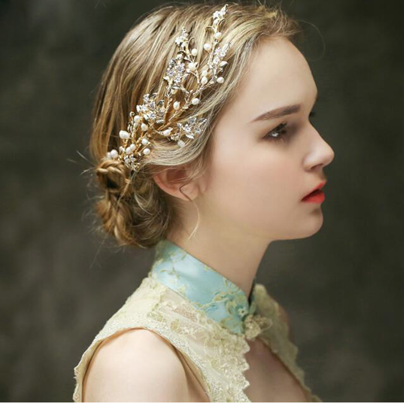 Wedding Hairstyles With Hair Jewelry: Aliexpress.com : Buy Romantic Pearl Bridal Hair Comb Gold