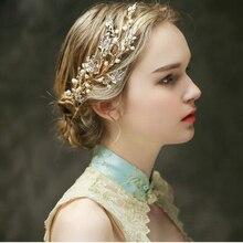 Романтический перл люкс волосы расческой золотые листья свадебный волосы аксессуары ручной работы свадебные украшения для волос женщины ювелирные изделия волос