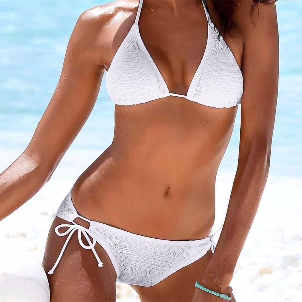 Girls Black White Bikini Set 2019 Brazilian Bikinis Push Up Swimsuit Lace Biquini Crochet Swimwear Women Halter Bathing Suit