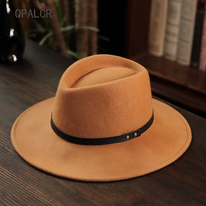 41c6ef73 QPALCR 2018 Vintage Wool Felt Hats Belt Design Men Fedora Hats WomenTrilby Caps  Wool Fedora Warm