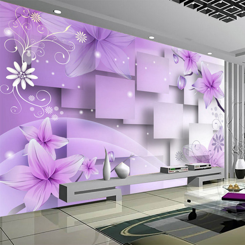 Modern Simple 3D Purple Flowers Square Stereo Mural Wall Paper Living Room TV Sofa Backdrop Wall Decor Papel De Parede Floral 3D