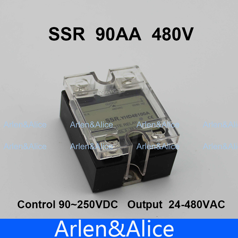 90AA SSR input 90-250V AC load 24-480V AC High voltage single phase AC solid state relay temprature control single phase solid state relay ssr 60a 90 280v ac 24 480v ac