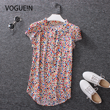 VOGUE!N New Womens Casual Short sleeve Blouse Striped Floral Solid Polka Dot Shirts Comfortable Cotton Tops A 12 Colors