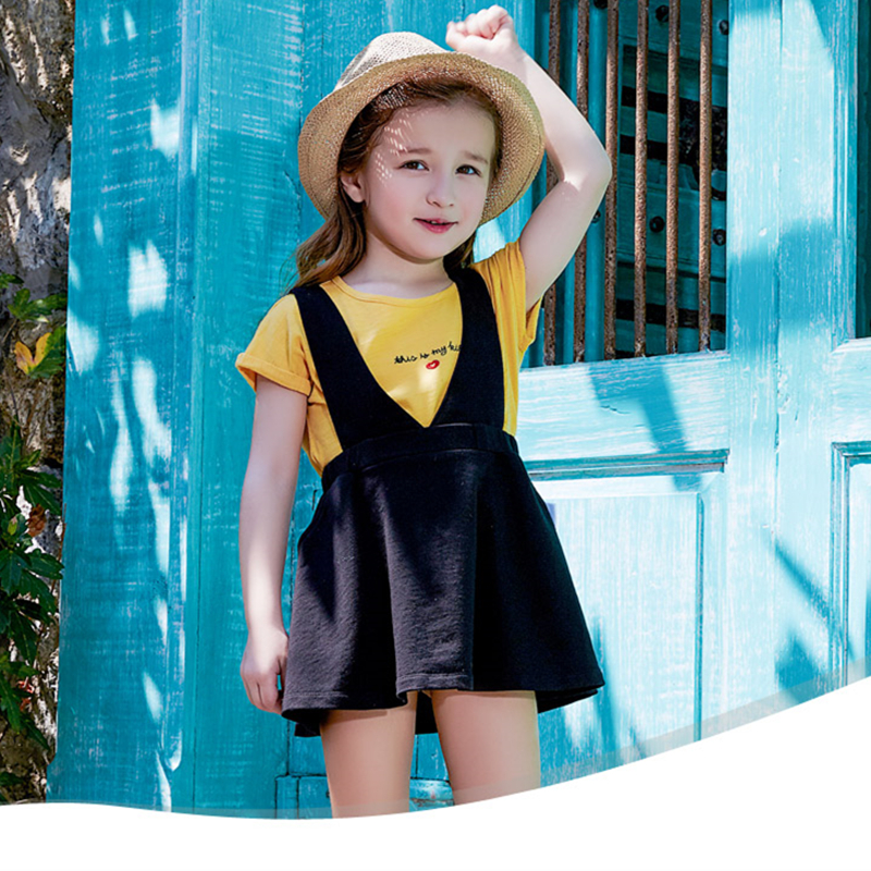 Kids Girl Fashion Dress Sets 2017 Clothes Summer New Children Dress Short-Sleeved T-shirt Baby Girl Strap Skirt Clothing Suit
