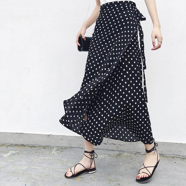 25 צבעים 2019 בוהמי גבוהה מותן פרחוני הדפסת קיץ חצאיות נשים Boho סימטרי שיפון חצאית מקסי ארוך חצאיות לנשים