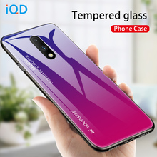 IQD For Oneplus 7 Pro Case Color Gradient for oneplus 6 6T glass case tempered back phone cover protection light thin fashion