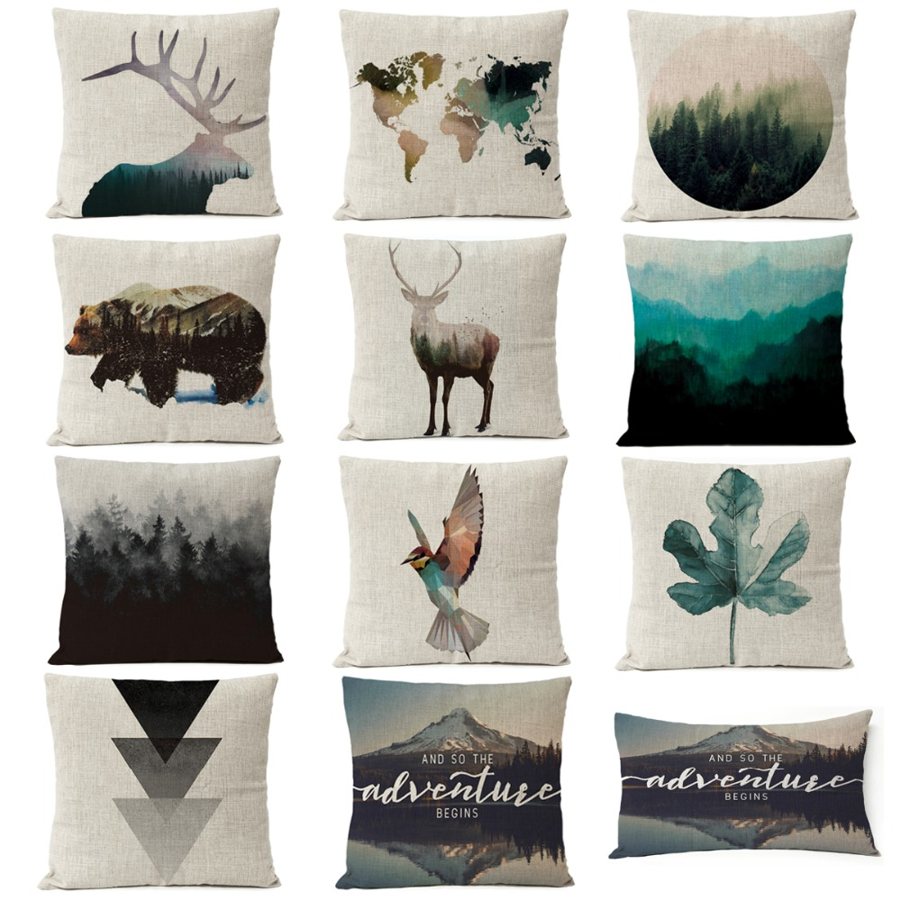 Наволочка в скандинавском стиле с геометрическим рисунком оленя, медведя, растения, лист, лес, льняная наволочка, декоративные подушки для д...