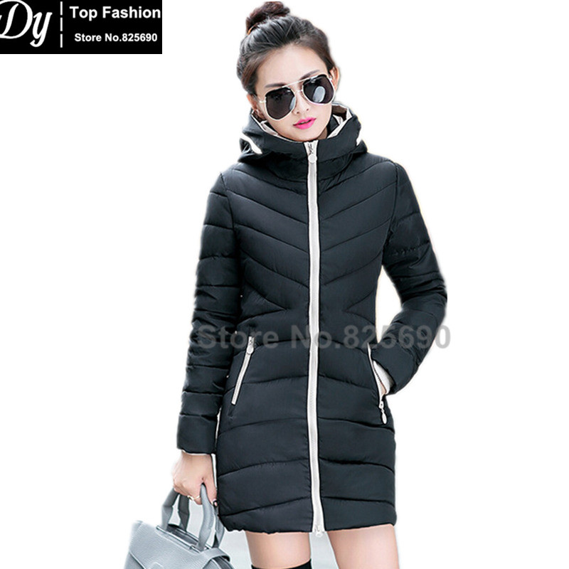 New Padded Winter Jacket Women Cotton Long Wave Jacket Fashion 2017 Girls Padded Slim Plus Size Hooded Parkas Solid Color Coat
