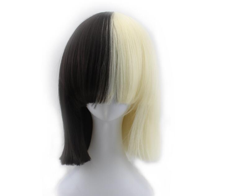Sia Alive This Is Acting Short Straight Cosplay Wigs for Women Female Anime Party Half Black and Half Blond Synthetic Hair