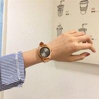 Reloj de madera bambú para mujer combinación metal 4