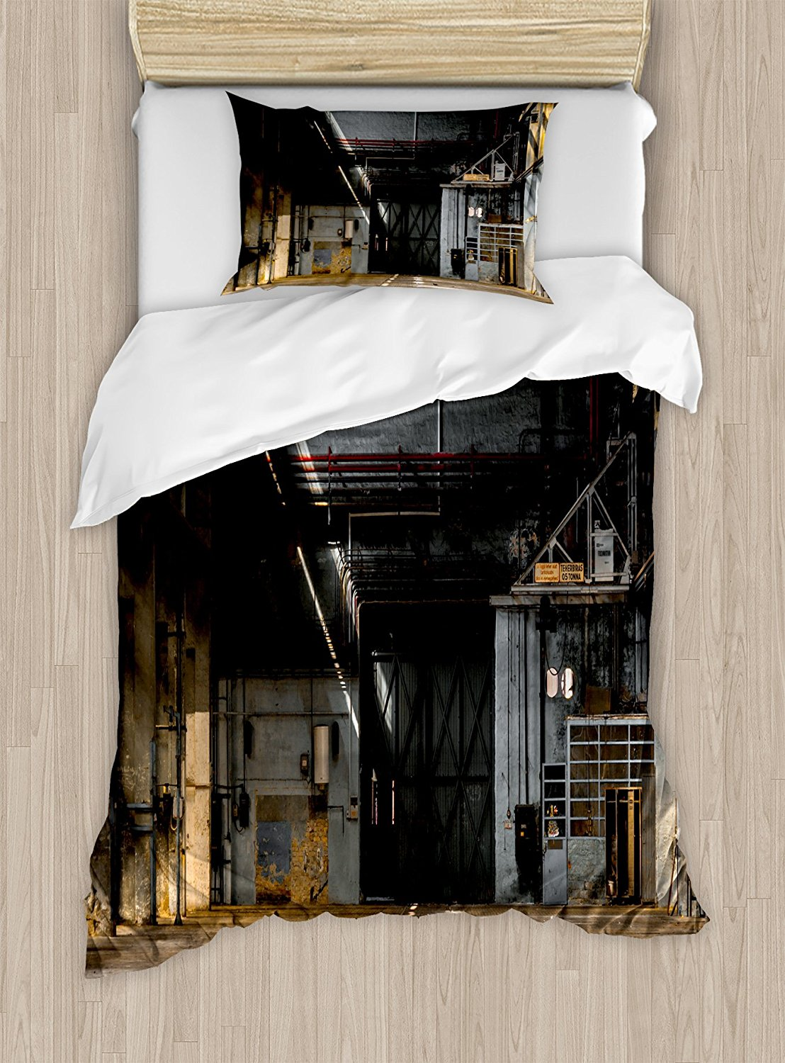 Industrial Duvet Cover Set Dark Industrial Interior of an Old Building Place of Manufacturing Hangar Print Bedding Set