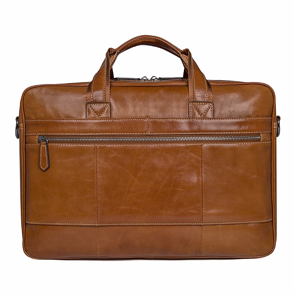 J M D Imported Top Layer Cow Leather Bag Large Capacity Business Briefcase Fashion Messenger Bag