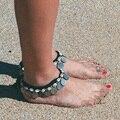 Moneda de plata Colgante de Concha Tobilleras Cadena Del Pie Tobillo de Las Mujeres de Bohemia Pulsera Tobillera Barefoot Sandalia Pie Joyería #85910