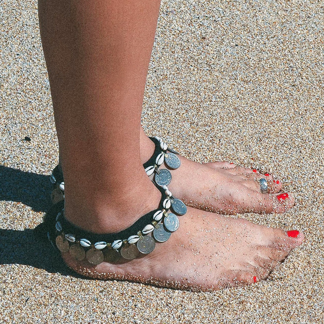 Silver Coin Pendant Shell Beads Anklets Bohemian Foot