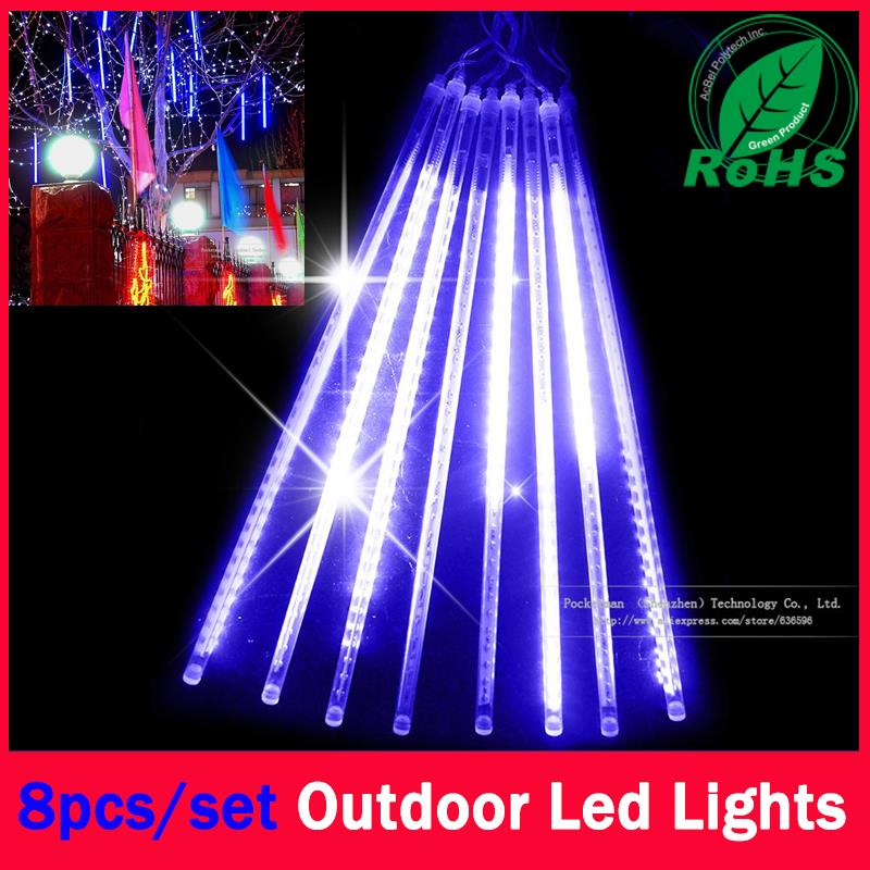 60% Christmas Leds 8 Pcs in a Set Meteor Shower Rain Tubes Lights Led Lamp 100-240V Outdoor Holiday Light New Year Decoration 10sets lot smd5050 warm white red green double side led meteor shower lights led tube 12 500 mm10 pcs set 48 leds pc