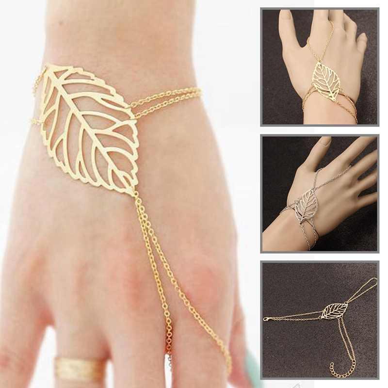 Nowa moda lato liście biżuteria liść ręcznie łańcuch niewolnik bransoletka uprząż biżuteria wzory dla kobiet proste bransoletka damska