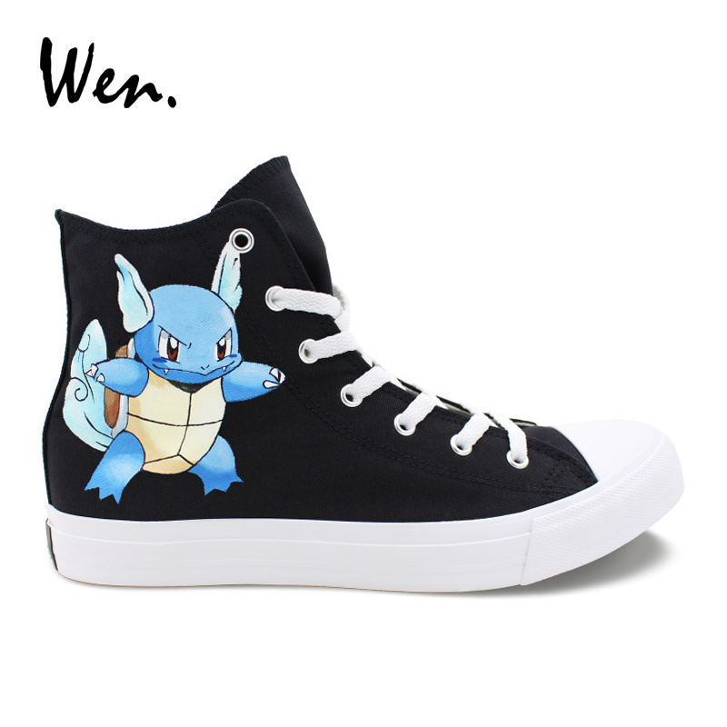 Wen Hand Painted Anime Shoes Pokemon Wartortle Turtle Black Canvas Sneakers High Top Men Women Plimsolls Trainers PersonalizedWen Hand Painted Anime Shoes Pokemon Wartortle Turtle Black Canvas Sneakers High Top Men Women Plimsolls Trainers Personalized