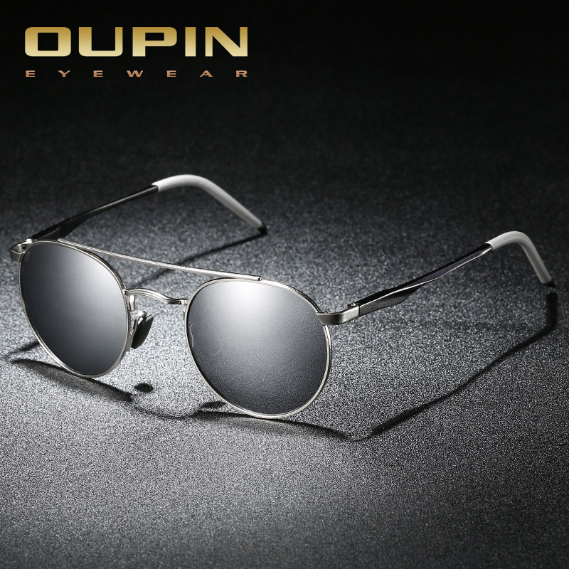 Oupin Luxury Round Sunglasses Men Polarized Women sun glasses goggles Sunglasses retro round 2018 fashion Brand Designer Mirror