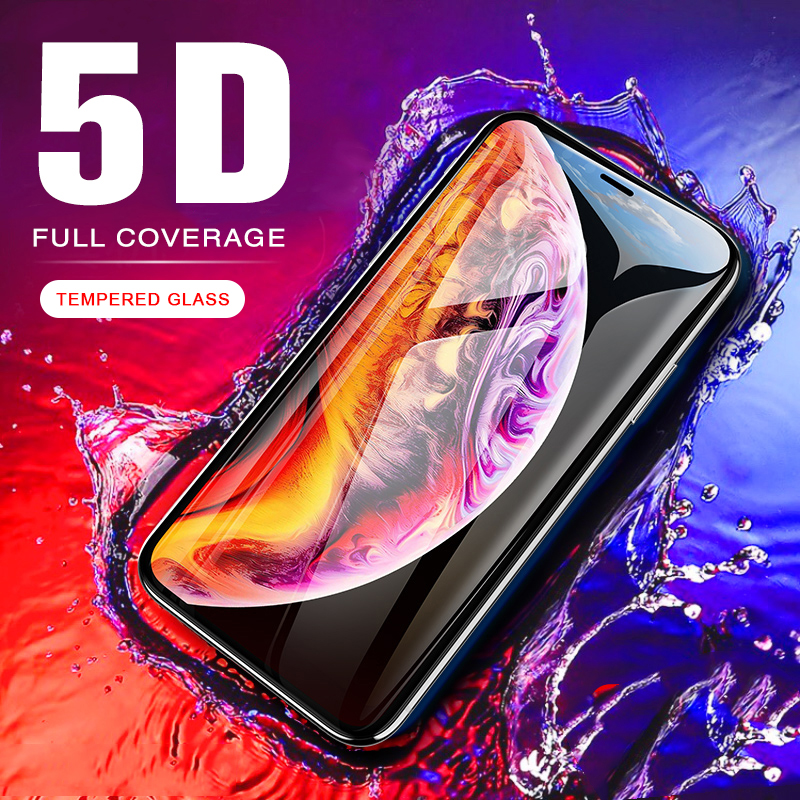 5D Tempered Glass On The For iPhone XS Max XR Full Cover Screen Protector For iPhone 7 Plus