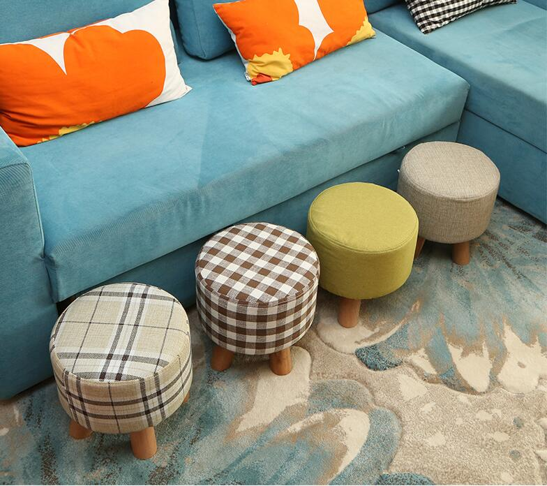 20PCS/LOT Newest Fashion chair Upholstered Footstool + Wooden Leg Pattern: Round/ square Fabric Pouffe Stool:5 Colors(4 Legs) 17 styles shoe stool solid wood fabric creative children small chair sofa round stool small wooden bench 30 30 27cm 32 32 27cm