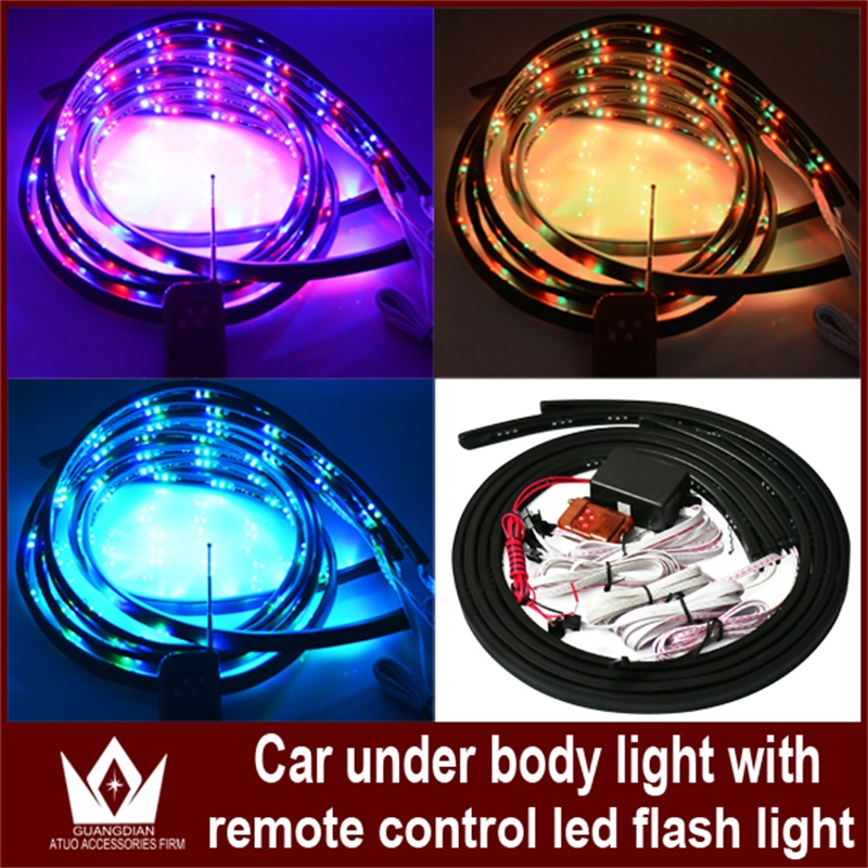 Tcart 4pcs Car LED Glow Underbody System Adapter Flexible Chassis Light Auto Led Home Car Decoration Lamp With Remote Controller
