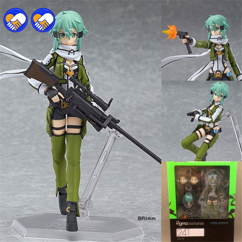A toy A dream Figma 241 GGO Sinon Action Figure SAO Brand Anime Sword Art Online 2 Model Toy Joints Movable Interchangeable Gift anime figma 289 sword art online ii kirito alo ver alover kirigaya kazuto pvc action figure collectible model toy 14cm kt2969