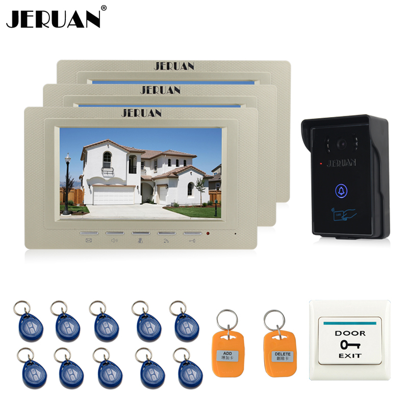 JERUAN 7 inch Video Intercom Video Door Phone System 3 monitors + 700TVL RFID Access Waterproof Touch key Camera FREE SHIPPING jeruan 7 inch video door phone intercom system kit rfid touch key waterproof access camera 180kg magnetic lock remote control
