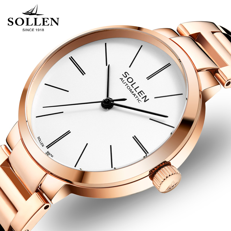 New Luxury Brand Rose Gold Women Watches Clock Casual Simple Automatic mechanical Watch Girl Steel Bracelet Ladies Wrist Watch 2017 new jsdun luxury brand automatic mechanical watch ladies rose gold watches stainless steel ladies tourbillon wrist watch