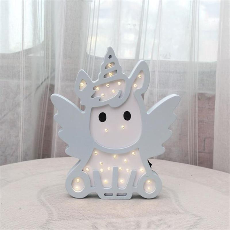 INS Originality Angel unicorn Night Light kids Nordic Cartoon Wall Hanging Children Room Decorative Lamp Baby Photographic Prop