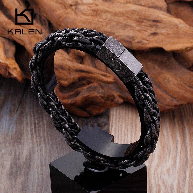 Pulseras de cadena de eslabones de doble capa de acero inoxidable 316 mate de KALEN, pulseras de cadena de mano para motociclista de Hip Hop para hombres, joyas de envío directo