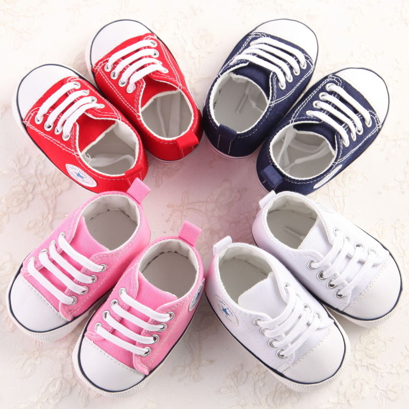Newborn Canvas First Walkers Toddler Girl Boys Baby Crib Shoes Soft Sole Prewalker Sneakers