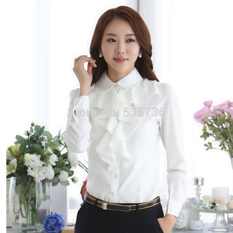 New Arrival 2017 Chiffon Long Sleeve Shirt Korean Style Fashion Ruffles Ladies White Black Office Blouses Women Clothes 8C81