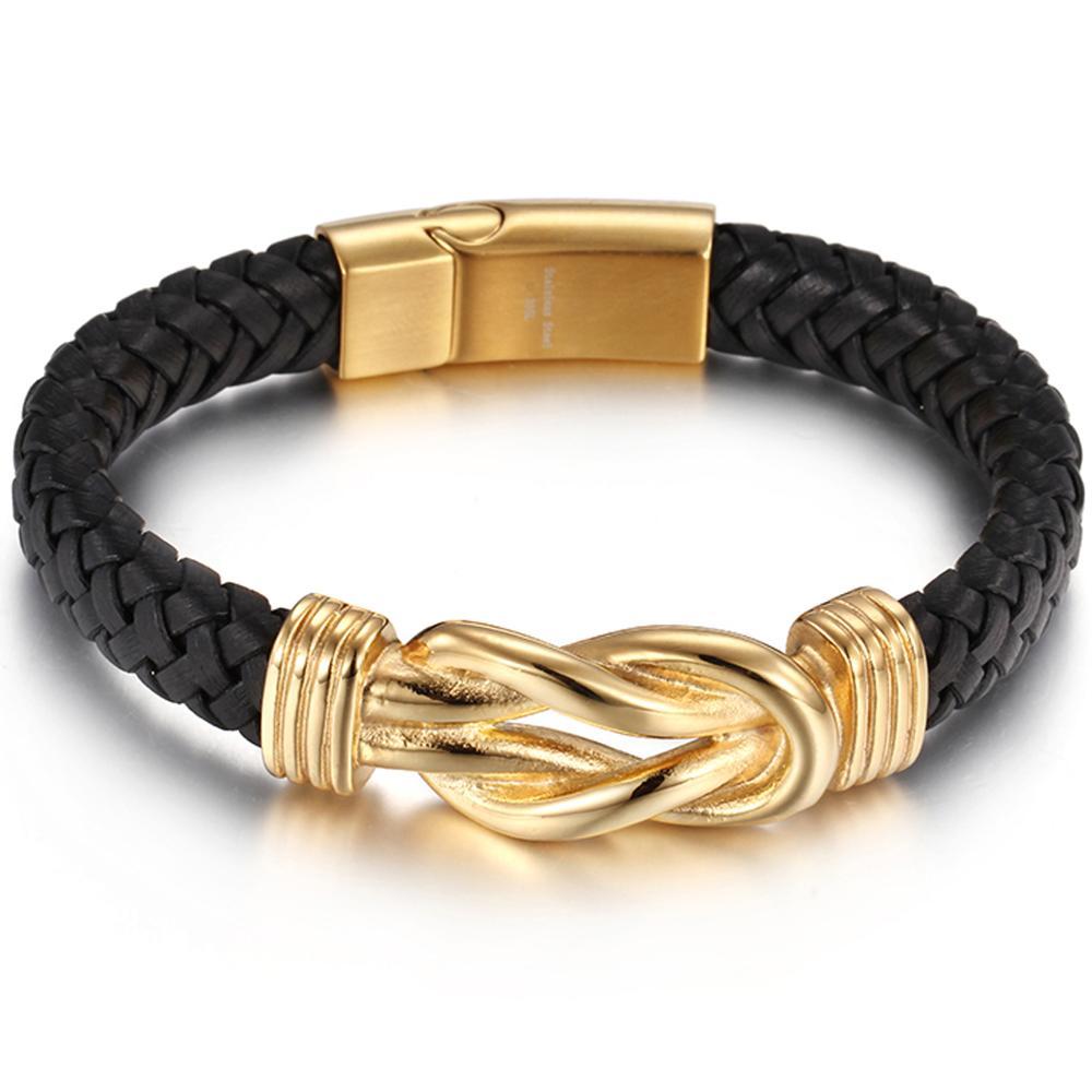 Granny Chic Genuine Black Leather Bracelet Men Homme Gold Magnet Buckle Male Bracelets Jewelry Gifts 22cm