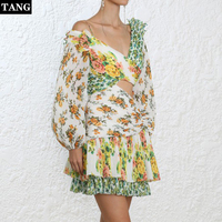 Tang 2019 Summer Beach Mini Dress Women Lantern Sleeve Printed Fne Pleated Dress Slanting Shoulder Sexy Club Dress Vestidos