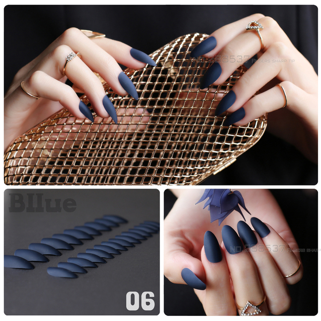 New fashion Dark blue mountain peak personality Designs Matte False nails  24pcs Full Nail Tips Girls - New Fashion Dark Blue Mountain Peak Personality Designs Matte False